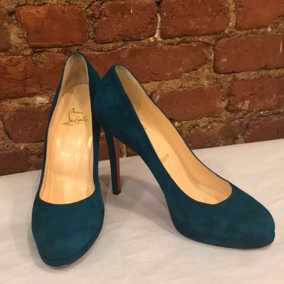 dd5f42b62a4 Christian Louboutin Shoes - Christian Louboutin Teal Suede Pumps